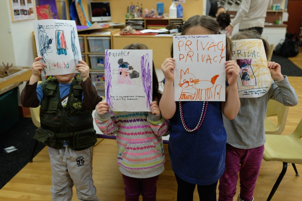 kindergarten students drawing images of privacy at CMU Children's School