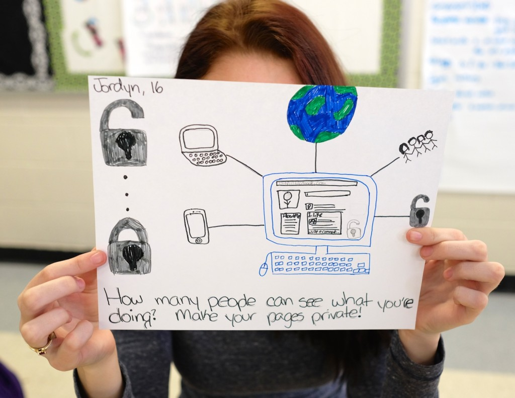 high school students drawing images of privacy at SciTech