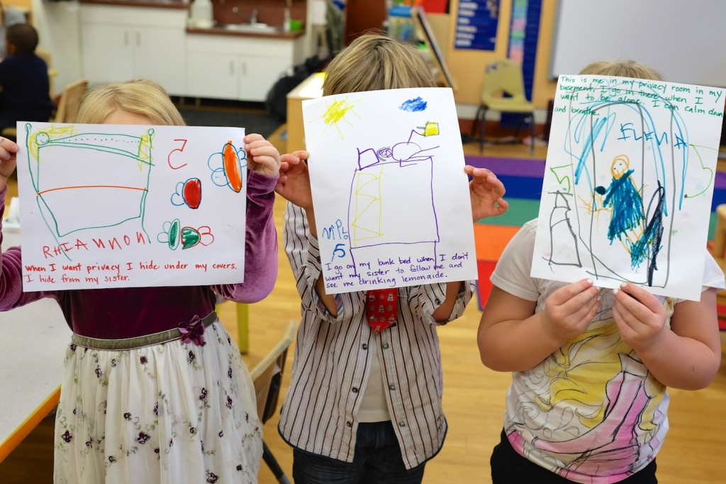 kindergarten students drawing images of privacy