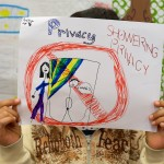 third grade students drawing images of privacy