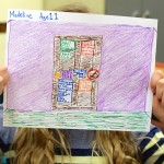 sixth grade students drawing images of privacy